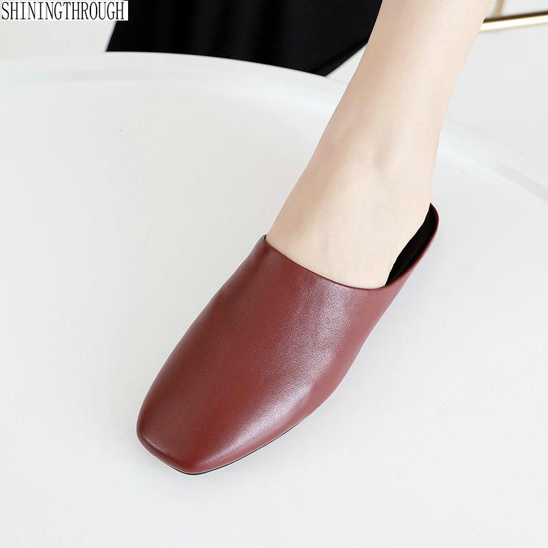 6dcf0ba018fe6 Chaussures noir L intérieur Dames Pantoufles Beige D été Pour 100Vache Femme  Femmes Cuir Décontracté À ...
