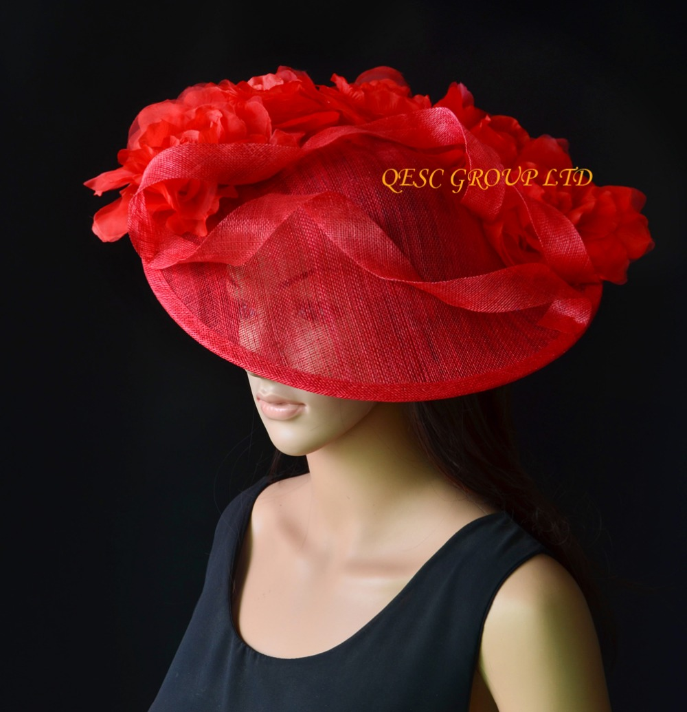 NEW Red Large sinamay hat saucer fascinator Silk flower fascinator for races 44619a48343