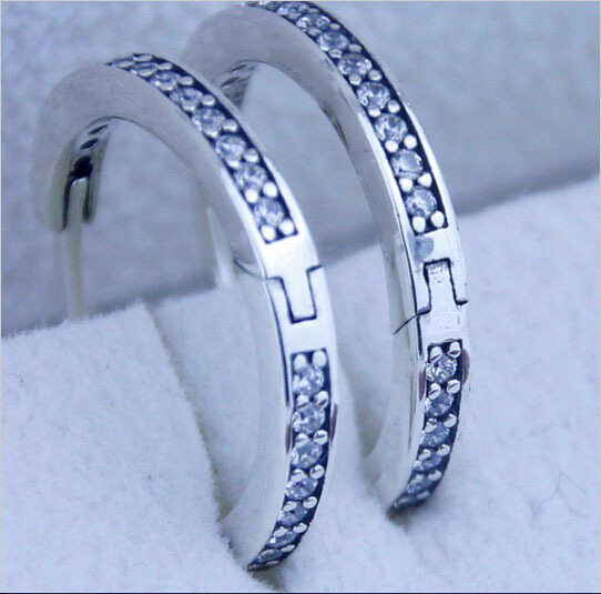 Compatible with European pandora Jewelry Signature Silver hoop earrings New 925 Sterling Silver Earring DIY Wholesale FE83