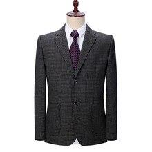 WAEOLSA Man Jacket Suits Plain Blazer Men Notched Collar Coats Male Elegant Outfit Gray Blazers Mens Business Jackets Suit 2019
