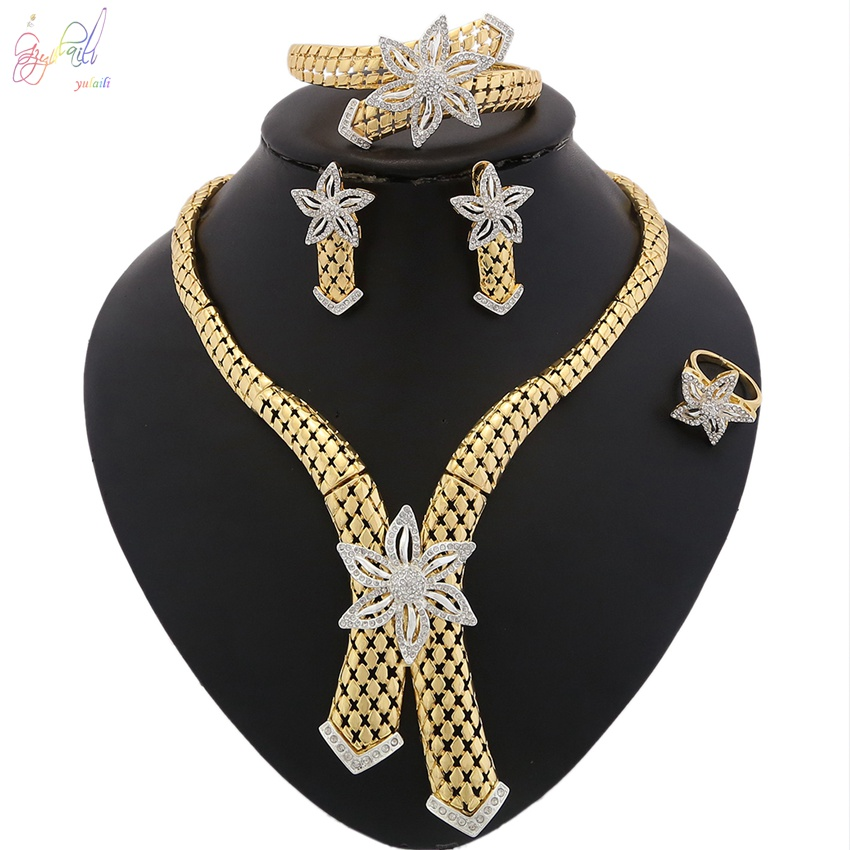 YULAILI Jewelry Sets Wedding Fashion Bridal African Pure Gold Color Necklace Earrings Bracelet Ring Women Party Accessories wholesale fashion gold color alloy rhinestone wedding jewelry sets necklace bracelet ring earrings for women bridal