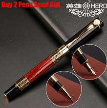 Free Shipping Luxury Hero Business Metal Fountain Pen Nice Touch Feeling Red Wood School Student Writing Pen Buy 2 Send Gift цена 2017