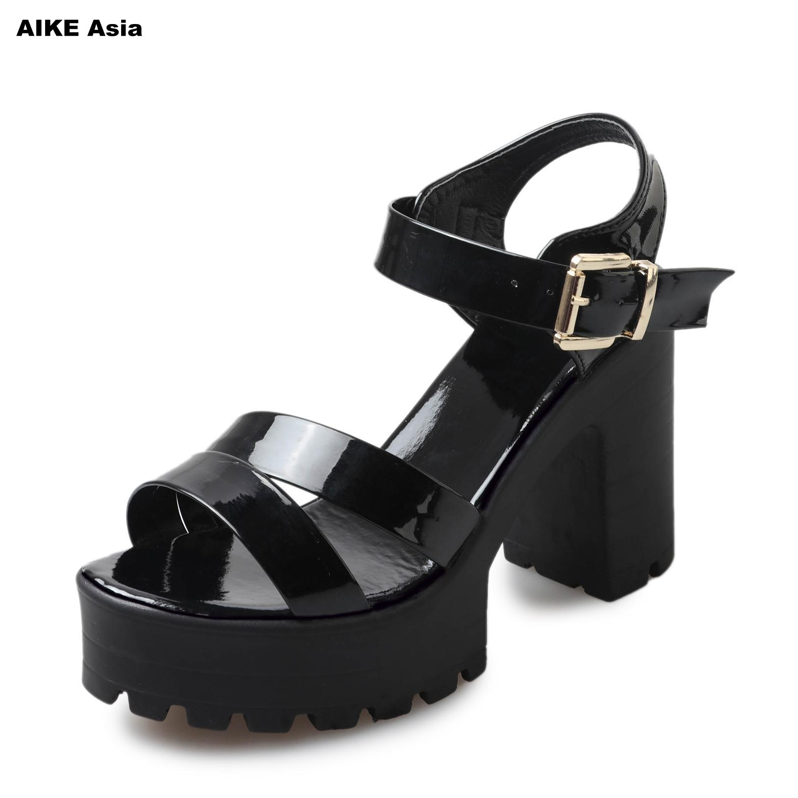 2018 Summer Hollow Women Sandals Shoes European And American Fish Mouth Fine With High Heels Super High Peep Toe Casual