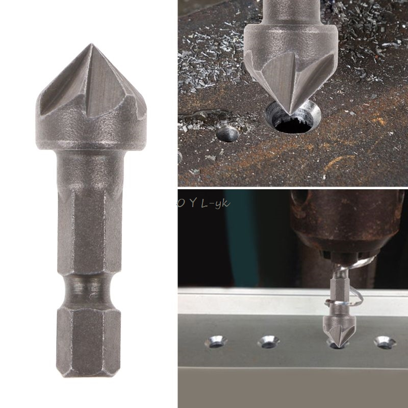 6 Flute Countersink Drill Bit 90 Degree Point Angle Chamfer Cutting Woodworking Tool