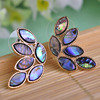 Luxurious Abalone Shell Earrings For Women Stud Brincos Gold Leaves Earring Studs Boucle D Oreille Bijouterie