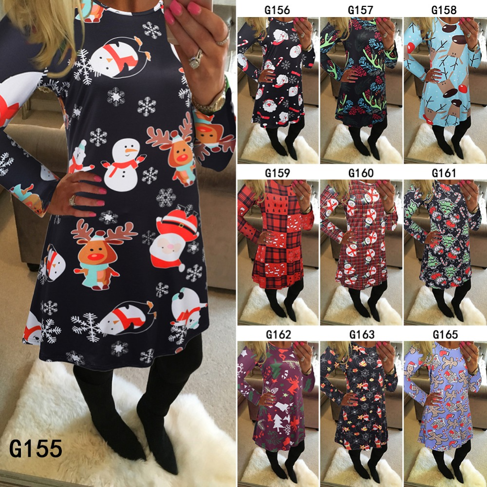 Christmas tree dress up images - Christmas Performa Dress Christmas Tree Penguin Reindeer Cartoon Pattern Dress Up Clothes For Women Christmas Day Winter Dress