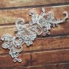 2Pieces 19X8cm Wonderful Handmade DIY Embroidery Venice Lace Appliques Mirror Motif Car Bone Bridal Veil