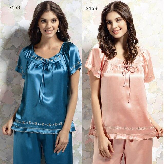 6542dbcae New 2016 fashion Silk sleepwear women's spring summer girl's short-sleeve  lounge suit 100% pure silk satin pajamas set