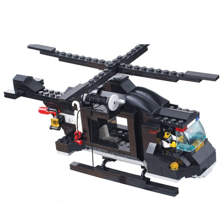 499PCS/set City police helicopter command center police car blocks ...