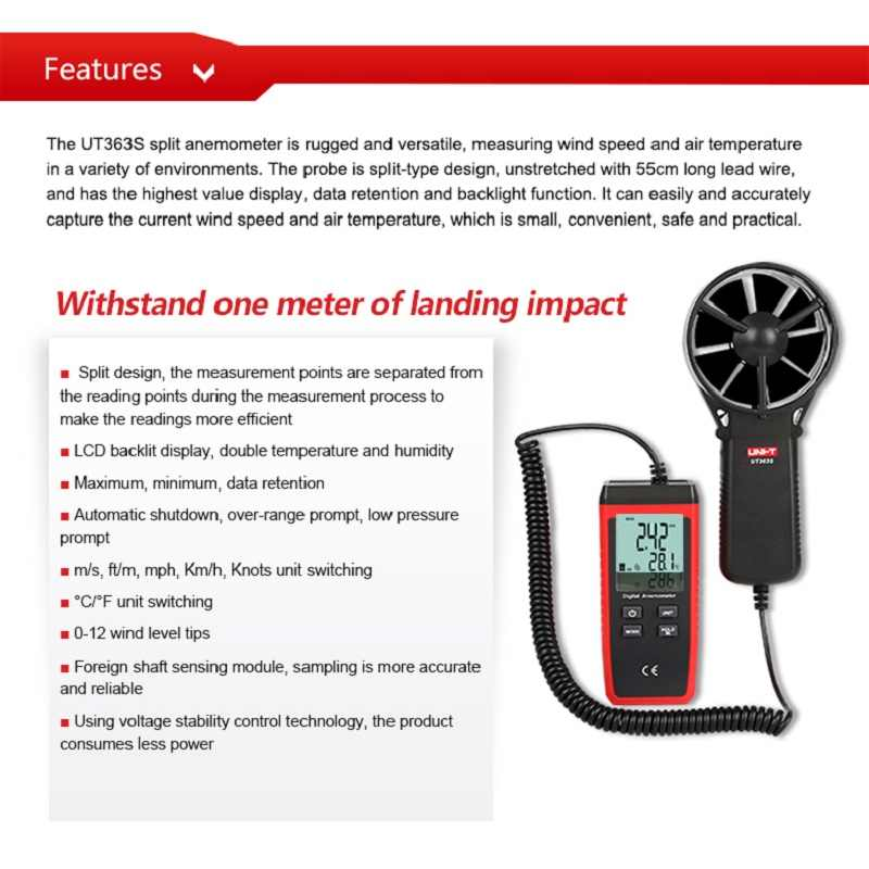 UNI-T Kecepatan Angin Meter UT363 UT363BT UT363S Saku Anemometer Kecepatan Suhu Termometer Digital Diagnostik-Alat