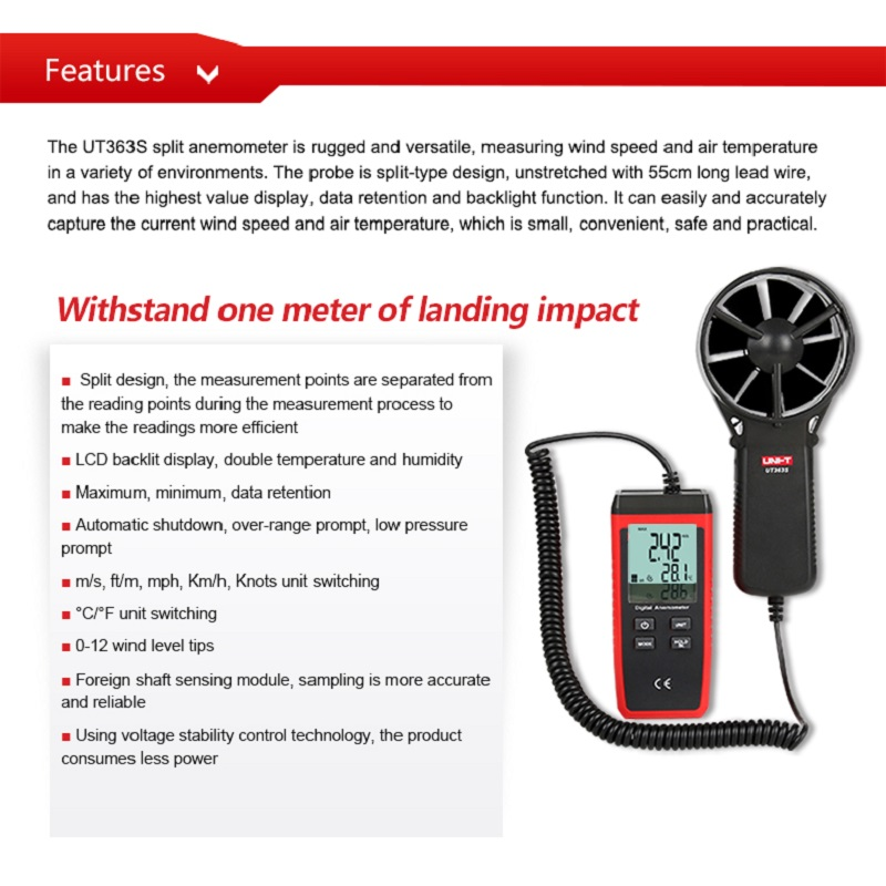 Image 3 - UNI T Wind Speed Meters UT363/UT363BT/UT363S Speed Temperature  Digital Thermometers Pocket Anemometers Handhold ToolsSpeed Measuring  Instruments