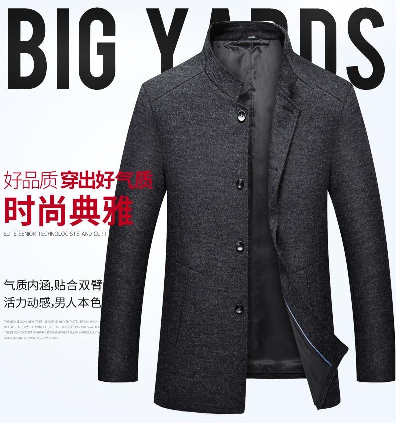 5889005d62 Plus 8XL 6XL 5XL 4XL New Winter Woolen Long Peacoat Men Slim Fit ...