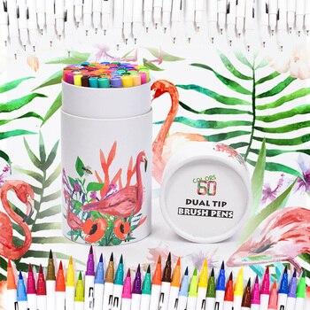 Mais novo 24/48/60/100 Canetas de Cor Aquarela Pincel de Ponta Dupla 0.4mm Fineliners Canetas de Água tinta à base de Desenho Esboço Marcadores Da Arte