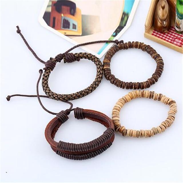 4pcs 1 Set Punk Genuine Wrap Leather Bracelets Men For Women 5