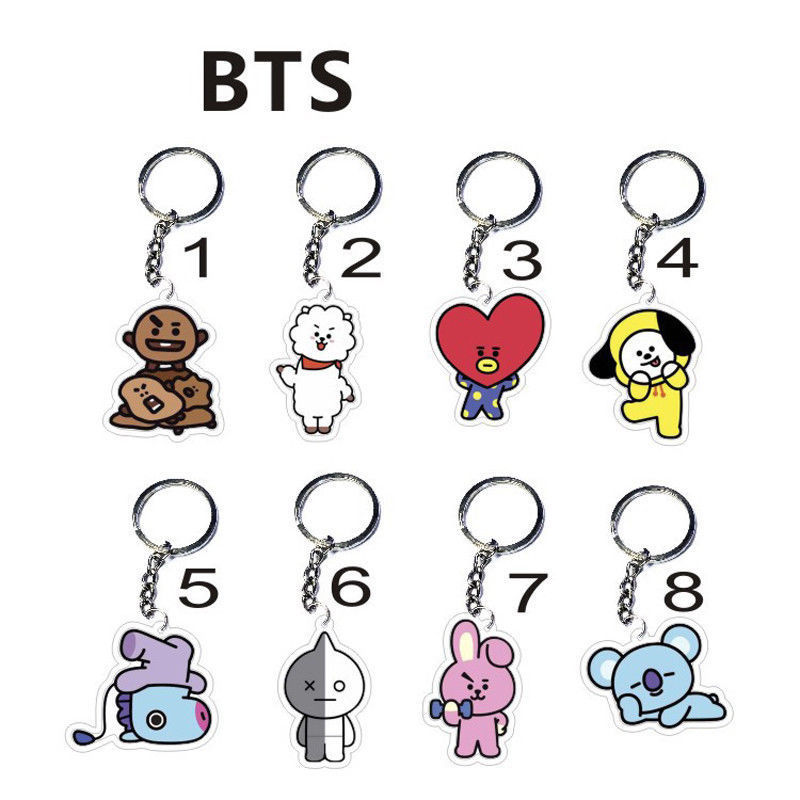 Kpop BTS BT21 Bangtan Boys Cute Key Chain TATA COOKY RJ SHOOKY Jimin V Key ring