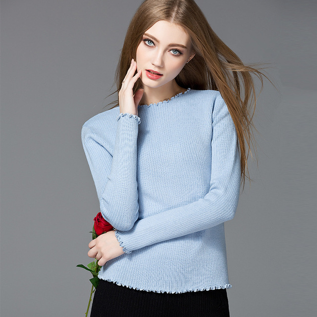 750e7cd468 New arrival spring fashion quality long sleeve pullover solid wavy edge  slim cotton spandex knitted women sweater 19788