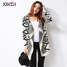 XIKOI Women Sweaters Clothes Casual Women's Cardigans Long Sleeves Casual Fashion Ladies Cardigan Geometric Print Sweater Coat