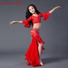 חדש בטן בגדי ריקוד תחרה למעלה + תחרה ארוך חצאית 2pcs עבור בנות בטן ריקוד חליפת סלוניים ריקוד חליפה עבור נשים