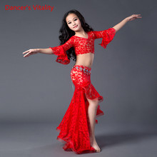 New Belly Dance Clothes lace Top+lace Long Skirt 2pcs For Girls Belly Dance Suit Ballroom Dance Suit For Women