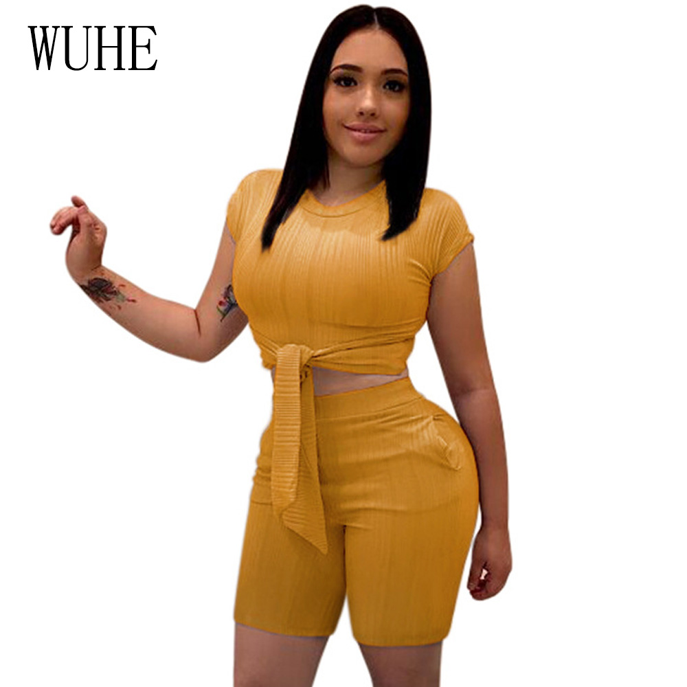 WUHE Summer Two Piece Set Women Playsuit Sexy Short Sleeve Crop Top And Shorts Suit Lace Up Bandage Rompers   Jumpsuit   Overalls
