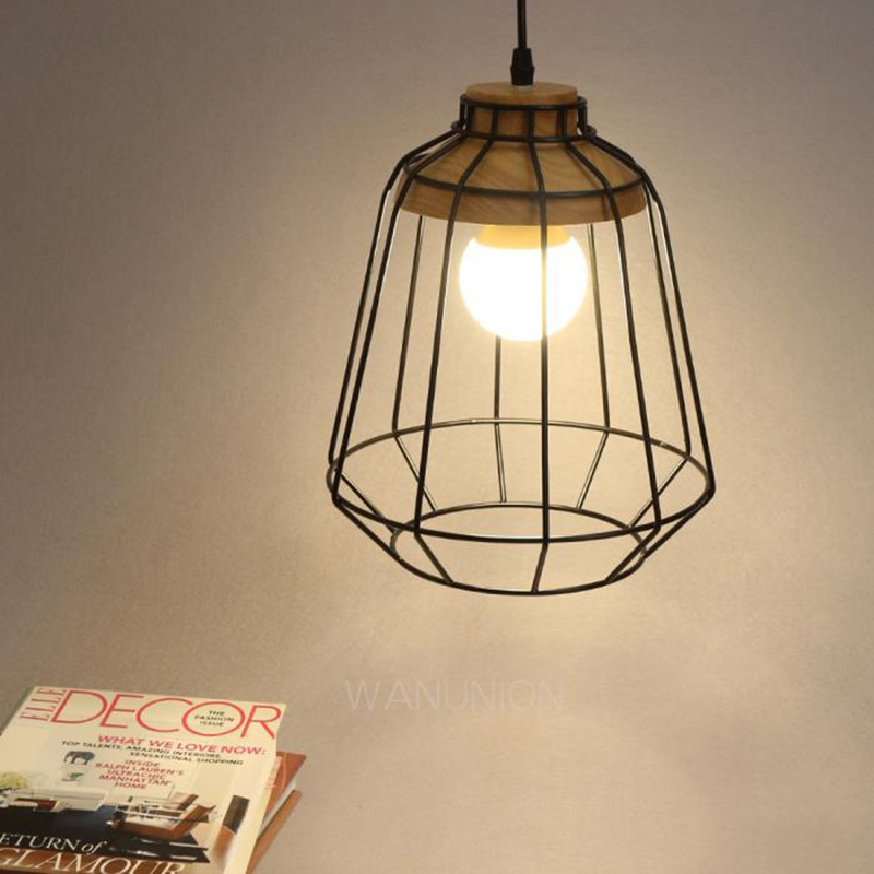 Vingate Industrial Pendant Lighting Cage Wooden hanging Ceiling pendant Lamps with lamp cage vintage iron pendant light industrial lamps e27 cage pendant lamp hanging lights fixture with glass guard indoor lighting