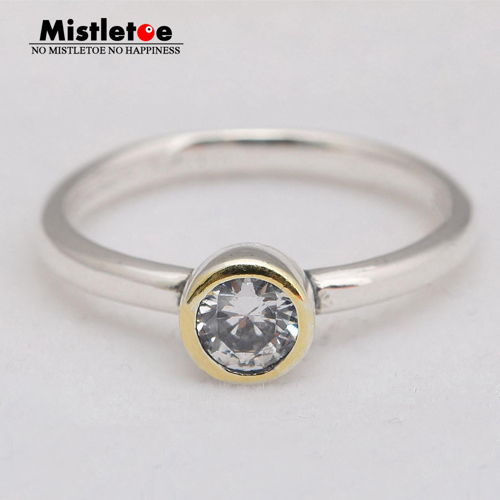 Mistletoe Genuine 925 Sterling Silver Petite Circle Ring, Clear CZ Compatible with European Original Jewelry
