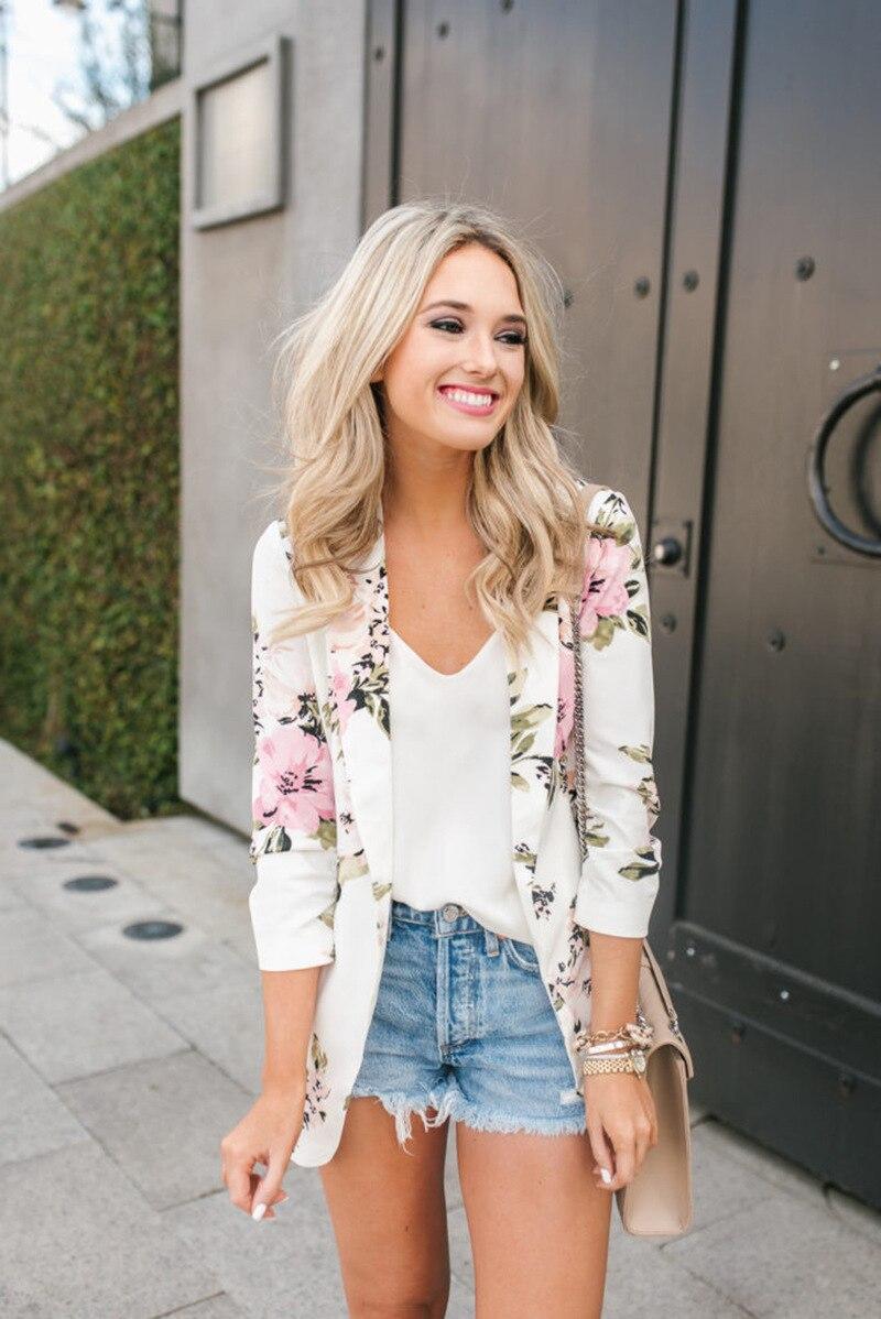 4d426acd9d Mujer otoño Floral Blazer Vintage Plus Size Casual Slim Flower Print Coat  blanco invierno Blazer Mujer en Chaquetas y americanas de La ropa de las  mujeres ...