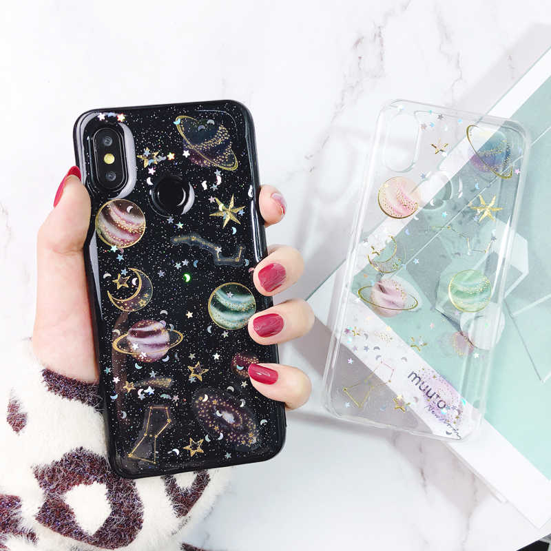 Glitter Space Planet Case For Xiaomi Mi 8 SE A2 Lite Shining Universe Moon Stars Soft Silicon Cover For Redmi Note 6 Pro 5 Plus