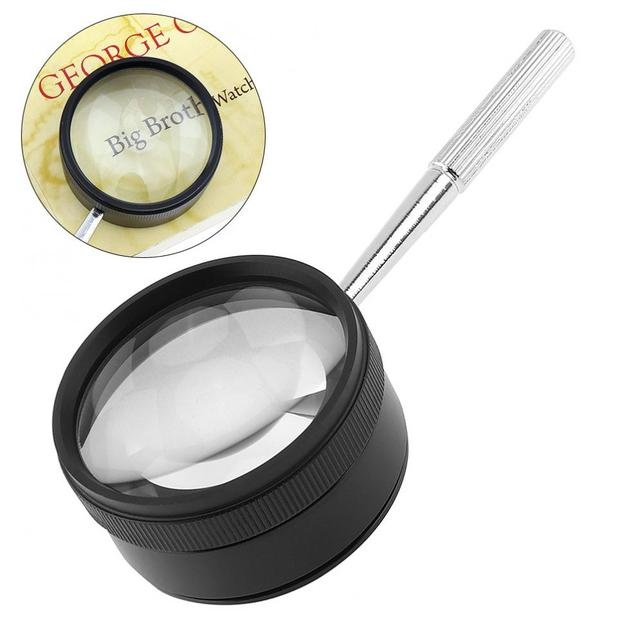 cbf932ff937e8 35X 50mm Magnifying Jeweler Loupe Zoom Glasses Hand Held Low Vision Pocket  Portable Magnifier Fresnel Lens With Metal Handle