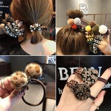 Модные женские аксессуары для волос леопардовая квадратная круглая Геометрическая высокая эластичная резинка для волос Радужный жемчуг стразы головной убор