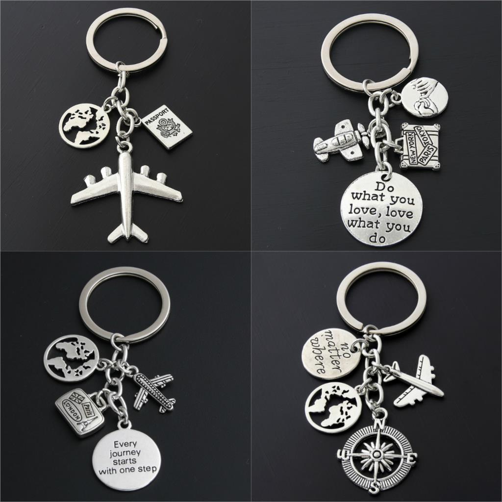 1pc World Map Charms Airplane Key Chains No Matter Where Pendant Key Ring For Travel Jewlery Freedom Gift For Traveler