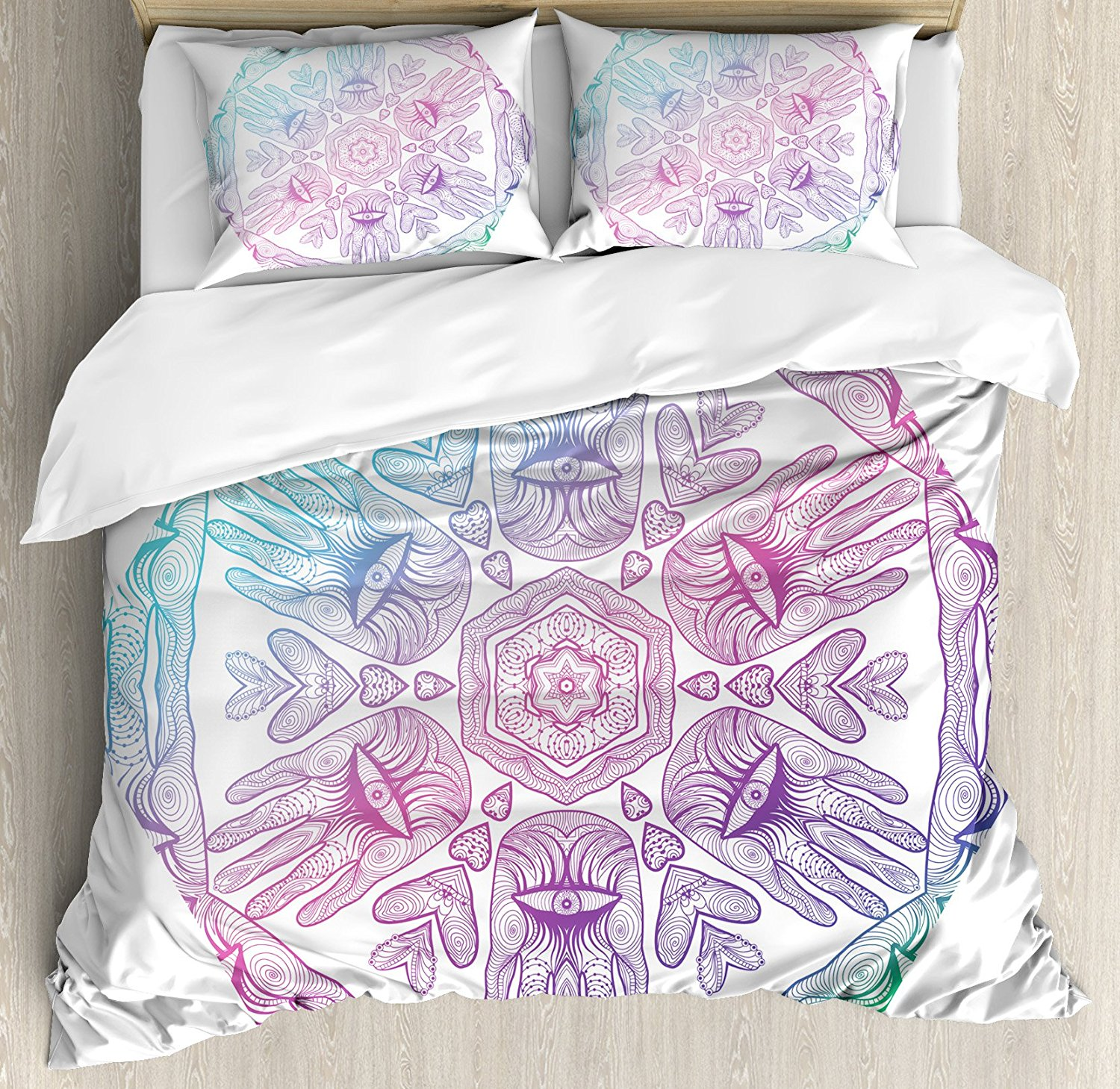 Hamsa Duvet Cover Set Evil Eye Themed Boho Ombre Color Pattern Hamsa Hands Asian Cosmos Mystical Mandala Bedding Set Blue Purple