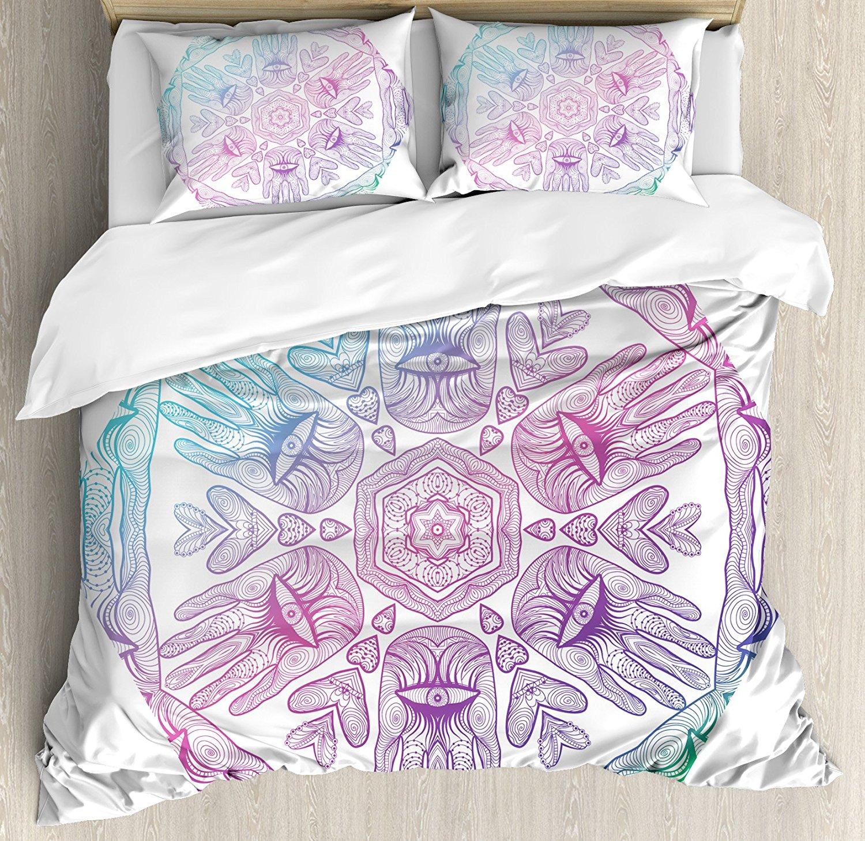 Hamsa housse de couette ensemble Evil Eye thème Boho Ombre couleur motif Hamsa mains asiatique Cosmos mystique Mandala ensemble de literie bleu violet