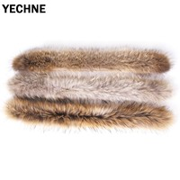 Real Fur Collar Scarf Women Natural Large Raccoon Furs For Coat Parkes Sweater Scarves Fur Neck 70 CM Neck Warmers
