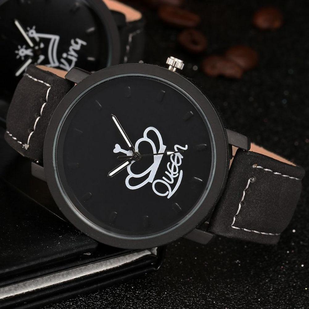 Hot King Queen Leather Watches Women Lovers Quartz Watch Men Brand Luxury Wristwatch Female Male Quartz Lover`s Watches MSK66