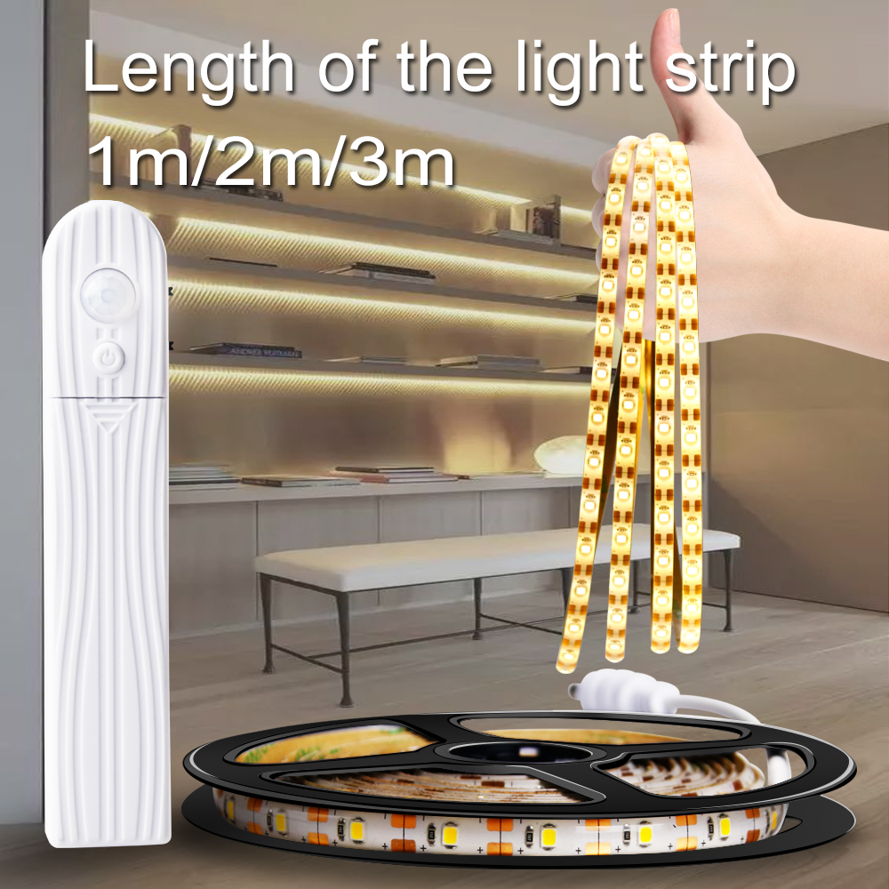 Led Strip Light Wireless PIR Motion Sensor LED Strip Lamp Led Light Tape Closet Stairs Warm White/ White Bedroom Night Lighting