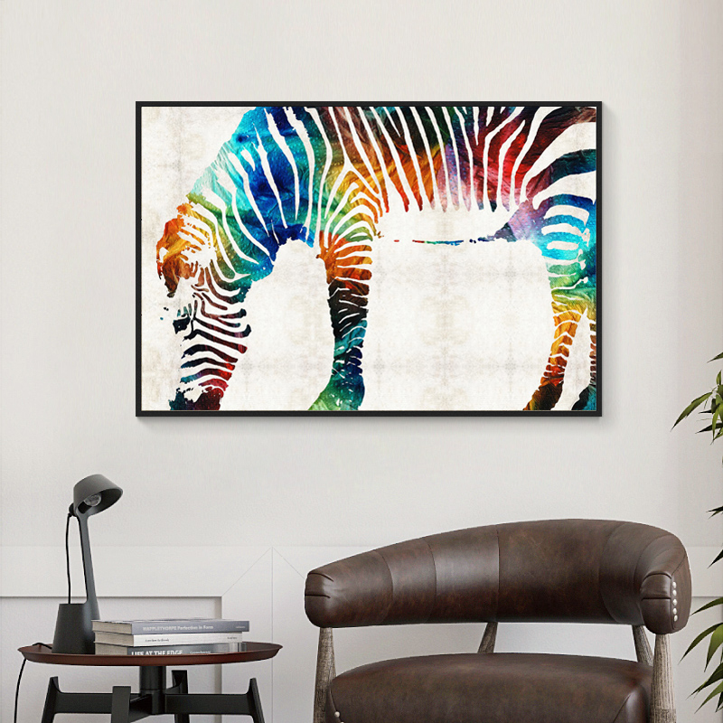 Minimalist Colorful Rug Designs: Animal Zebracorn Rainbow Art Print Modern Minimalist