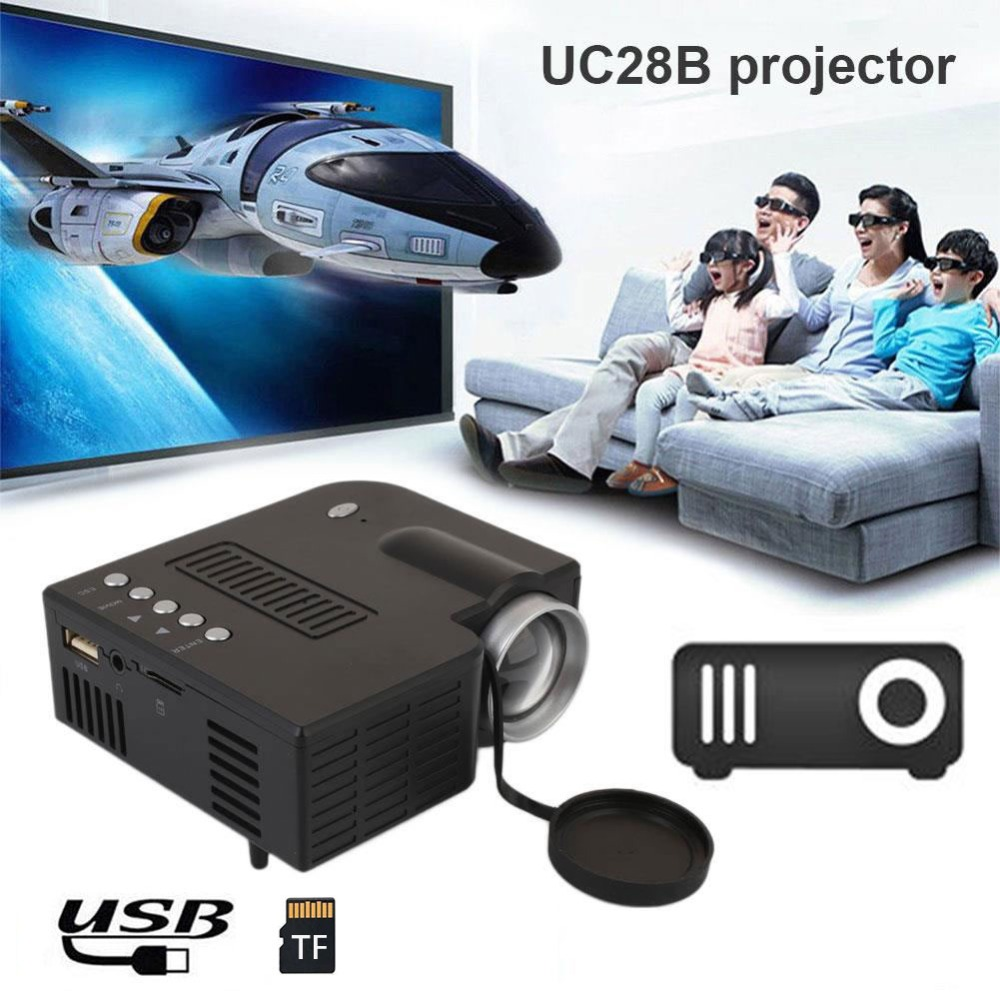 Mini Portable UC28B projector 500LM Home Theater Cinema Multimedia LED Video Projector Support USB TF Card EU Plug projector hd 1080p mini portable support tf card durable for home cinema theater new sl 88