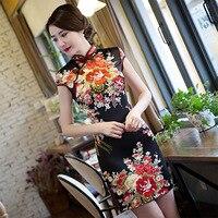 New Arrival Vintage Chinese Style Women Mini Silk Rayon Cheongsam Qipao Summer Novelty Print Sexy Dress