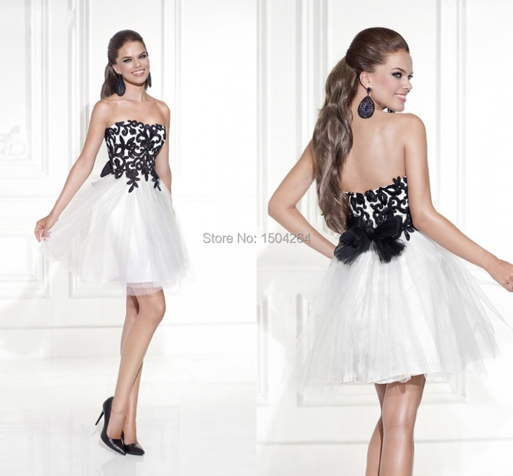 White Prom Dresses Short Black Appliques Gowns Mini Masquerade Costume Tulle Party Dress Backless Vestidos Festa Formatura In From