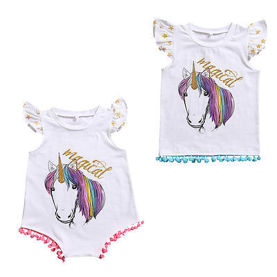 Little Sister Baby Girl Bodysuit Big Sister T-shirt Tops Horse Printing Family Matching Outfits
