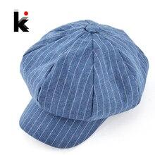 2018 otoño y el invierno newsboy caps womens moda casual sombrero del casquillo  octagonal algodón y lino mezcla boina sombreros . ed811672d7e