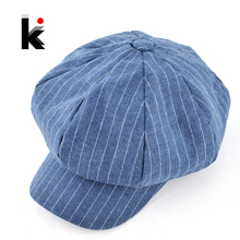 2018 Autumn and winter newsboy caps womens fashion plaid casual hat octagonal cap cotton and linen mixing beret hats for women