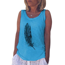 Women's Tank Top Summer Casual Fashion Feather Print Round Neck Sleeveless Long Vest Fashion Ladies Tank Top Camisas Muje D20 fashionable round neck floral print layered tank top for women