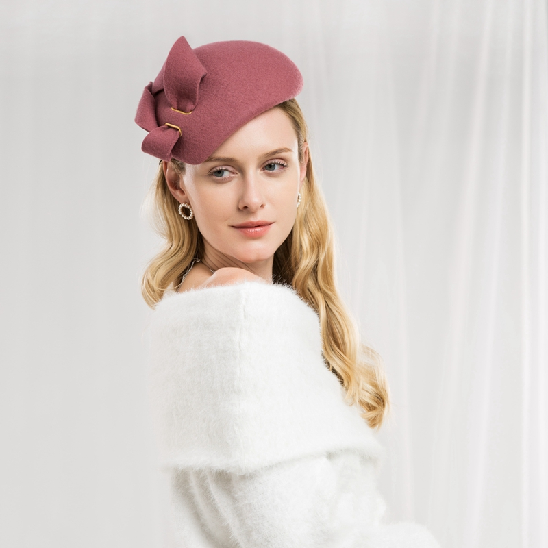 Plichtmatig Lady New Fashion Winter Fedora Cap Vrouwen Elegante Trouwjurk Hoed Banket Party Strik Vilten Hoeden Wollen Reizen Hoed