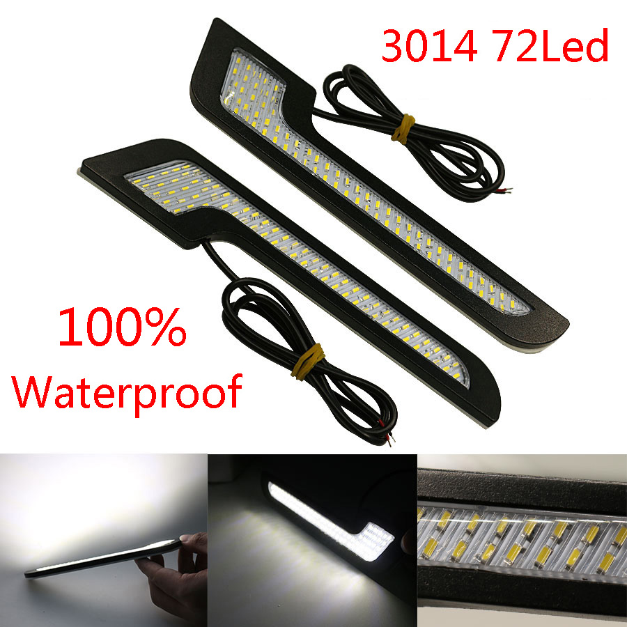 2Pcs LED DRL Daytime Running Lights Car-Styling External Lights Auto Car Driving Front Fog Vehicle Lamp With Sticker New wljh 2x h3 car led light 60w auto external lights driving lamp drl daytime running lights led fog light bulb12v 24v 1000lm