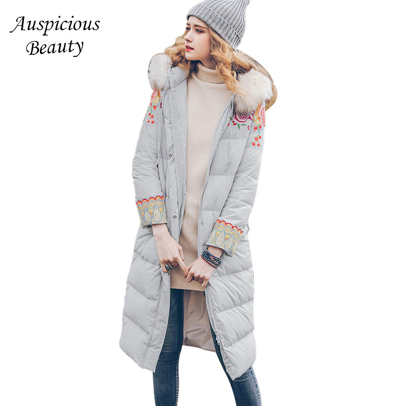 2018 New Fashion Winter Women Down Coats Warm White Duck Down Jacket Ladies Hooded Fur Collar Floral Embroidery Outwear CX270