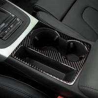 For Audi A5 A4 B8 2009 2015 Carbon Fiber Trim Cup Holder Decorative Frame Decal Cover Sticker Cover Car Styling Accessories