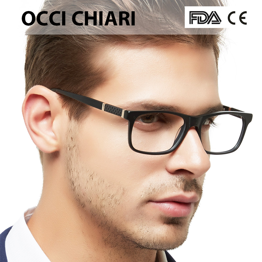 Glasses Frames Men Acetate Eyeglasses Frame Optical Eyewear Blue Demi Grey Retro Rectangle Spectacle Male OCCI CHIARI  PRA