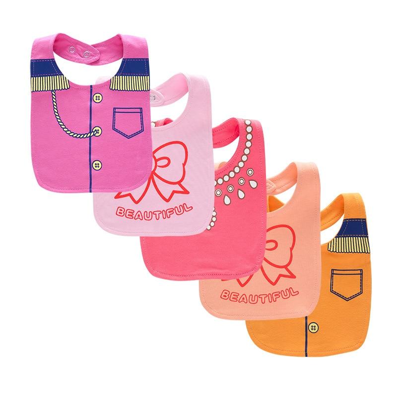 5pcs/lot Baby Bib New Waterproof Saliva Scarf Fashion Print Baby Towel Baberos Bebes Soft Cotton Bibs Burp Cloths Accessories